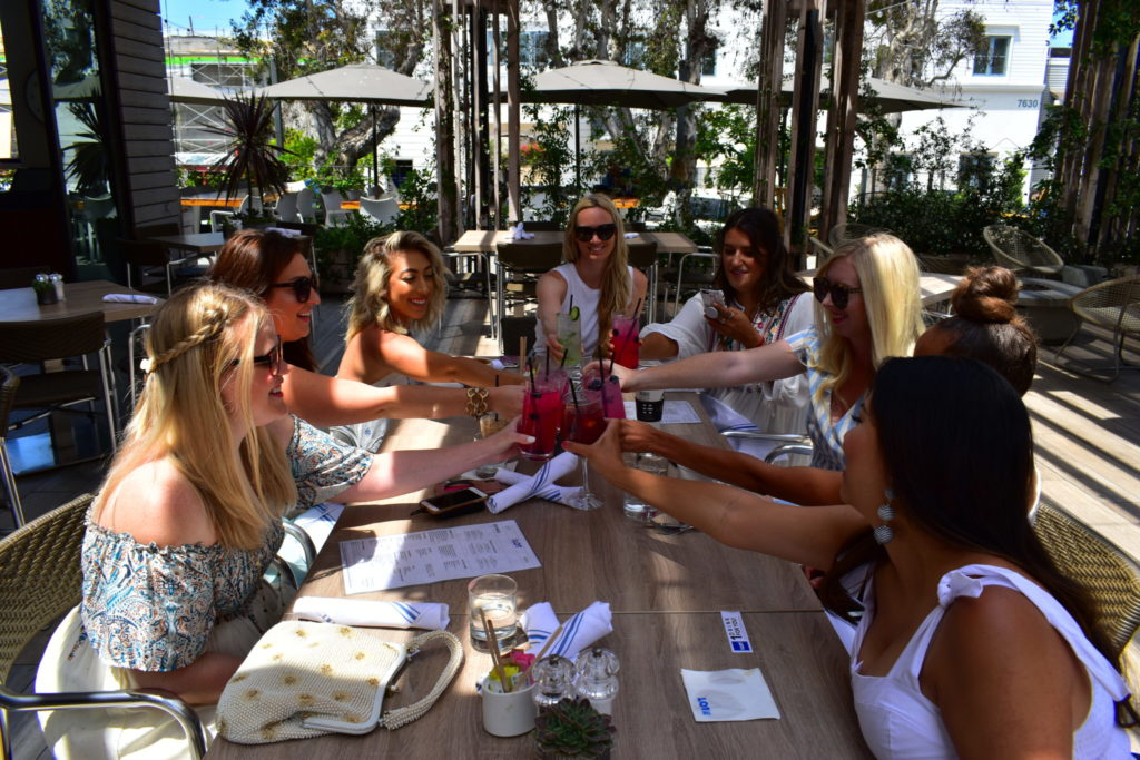 Blogger Cheers at The Lot La Jolla Brunch on the patio