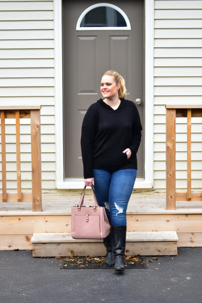 Finding Fall Favorites with Stitch Fix - Hooded Sweater and Blush Bag
