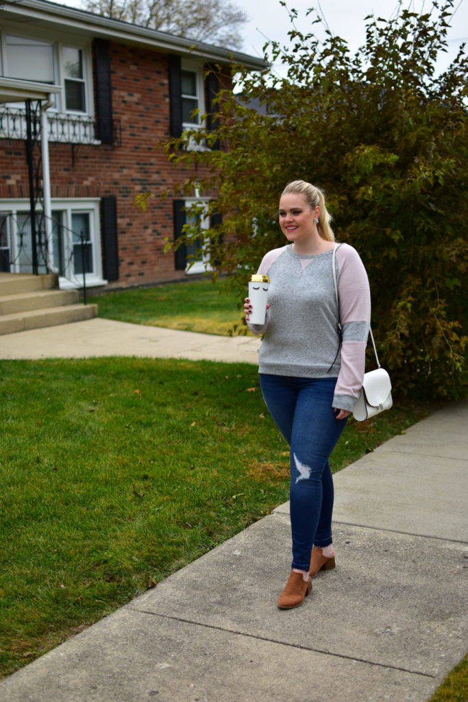 Finding Fall Favorites with Stitch Fix - Grey and Pink Sweater